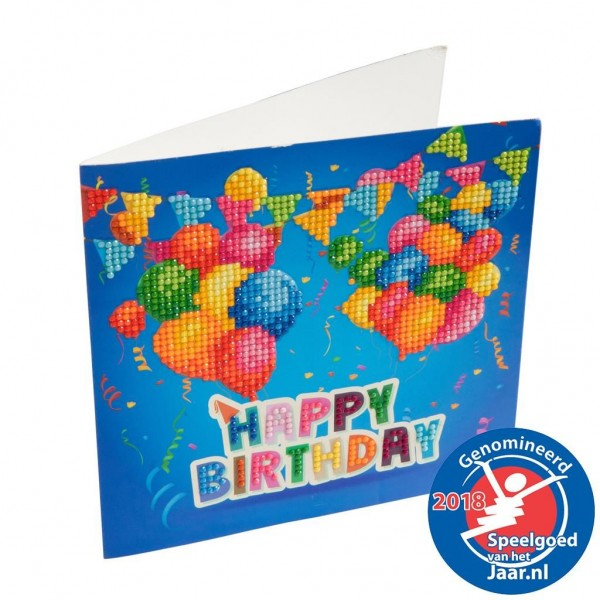 Crystal Art Kaart Happy Birthday 18 X 18 Cm
