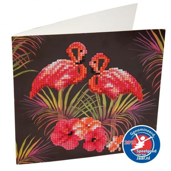 Crystal Art Kaart Flamingos 18 X 18 Cm