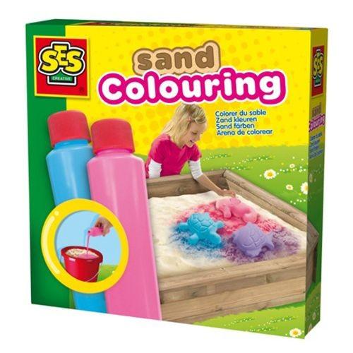 Ses Zandkleuren Blauw En Roze