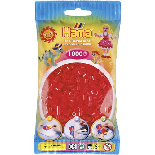 Hama Strijkkralen Rood Doorzichtig (013)