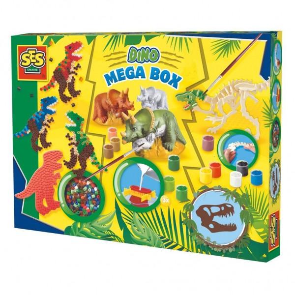Ses Dino Megabox - Strijkkralen, Gips Gieten en Houten Skelet