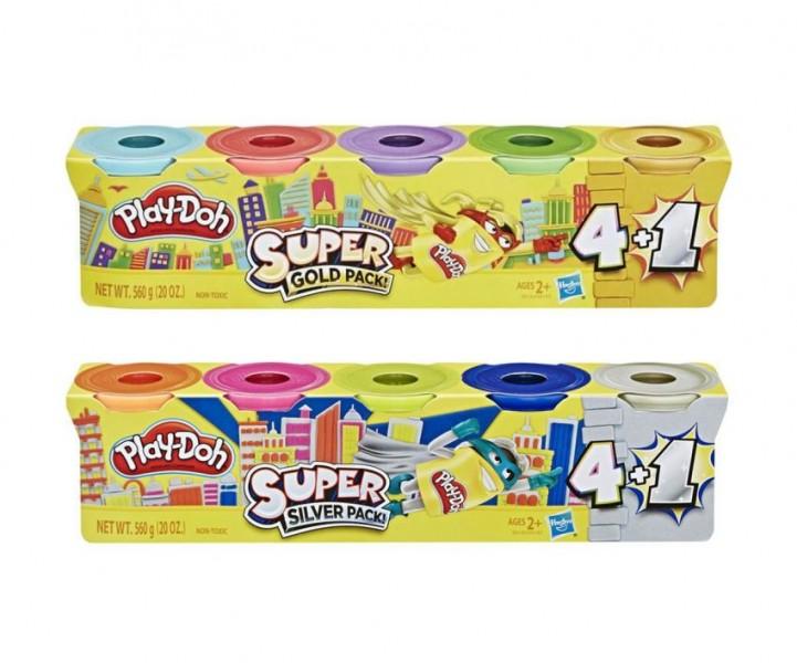 Play-Doh 4+1 Zilver of Goud