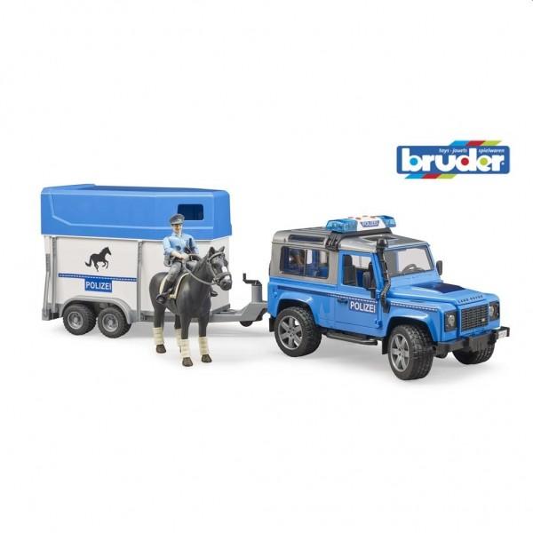 2588 Bruder Jeep Politie met Paardentrailer en Paard