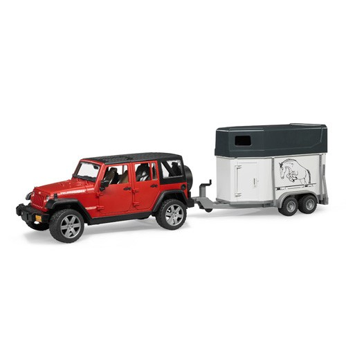 2926 Bruder Jeep met paardentrailer