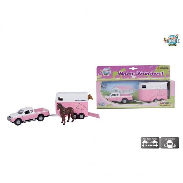 Kids Globe Auto Mitsubishi Met Paardentrailer Roze 27 Cm