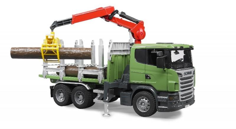 3524 Bruder Vrachtwagen Scania R-Serie met Laadkraan en bomen