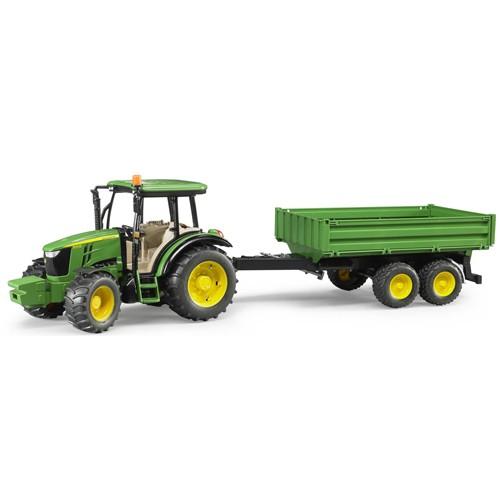 2108 Bruder Tractor JD 5115M met aanhanger