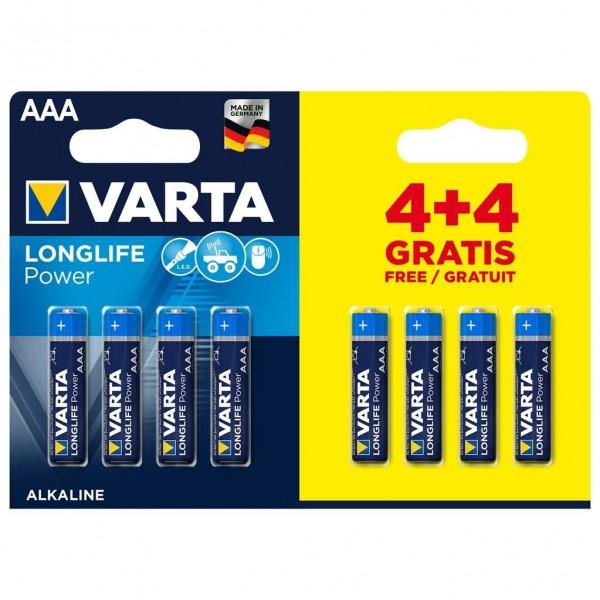 Varta Batterij AAA 4+4 Alkaline Longlife Power