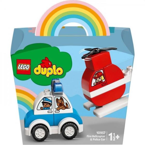 10957 Lego Duplo Brandweerhelikopter en politiewagen