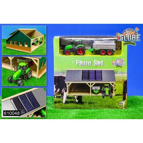 Tractorset met loods Kids Globe