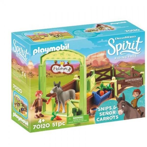 70120 Playmobil Spirit Knip en Meneer Worteltjes met Paardenbox