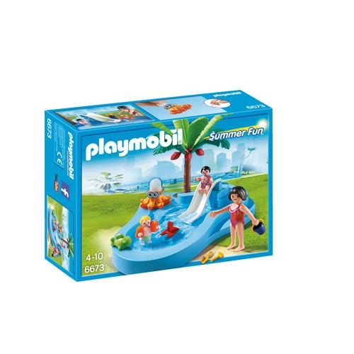 6673 playmobil kinderbad met glijbaan for Playmobil piscine avec terrasse