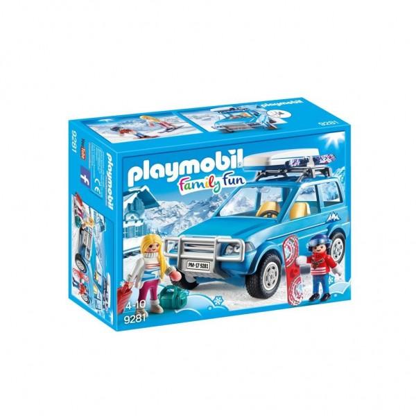 PLAYMOBIL Family Fun: 4x4 met dakkoffer blauw