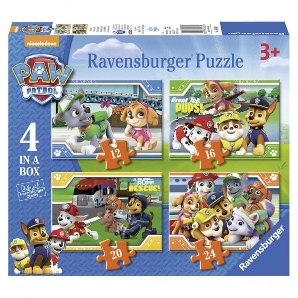 Puzzel Paw Patrol 12+16+20+24 Stukjes