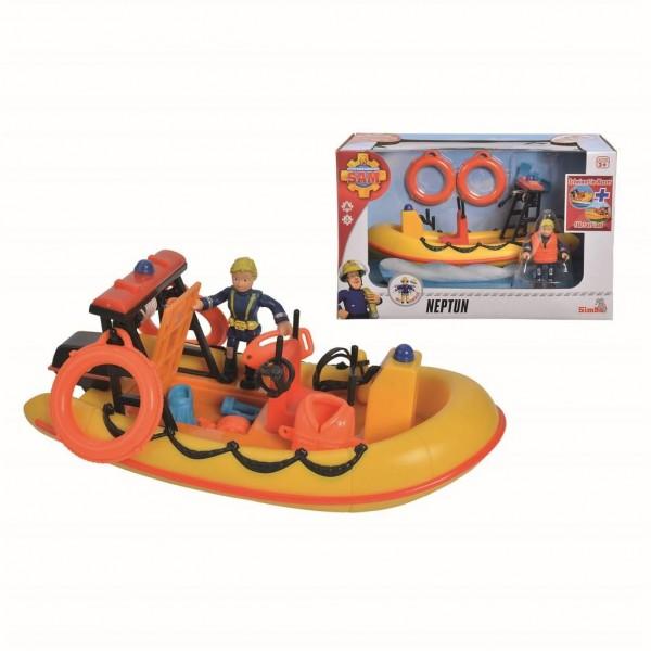 Simba speelset Brandweerman Sam met boot 19 cm geel/oranje