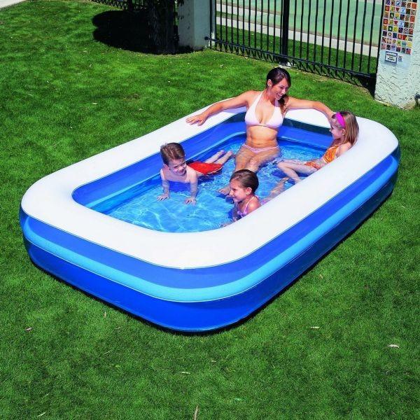 Zwembad met opblaasbare bodem halve parasol for Zwembad afmetingen