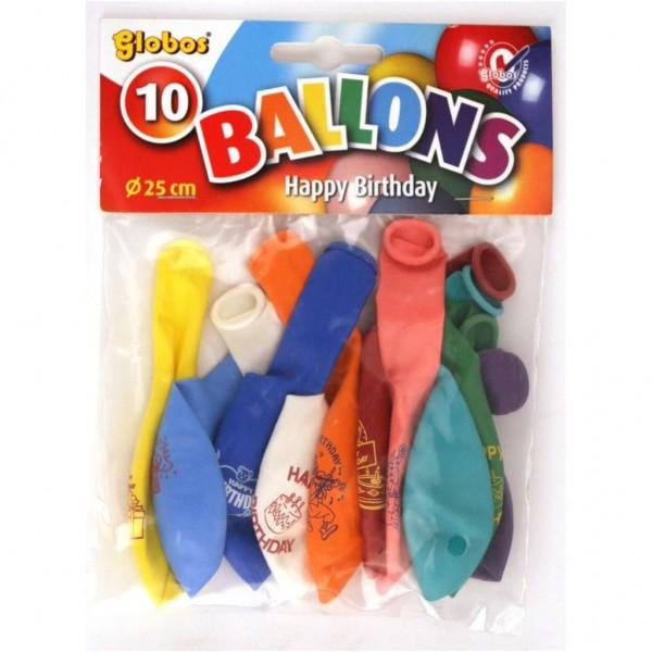 Ballon Happy Birthday 10 Stuks 25 Cm