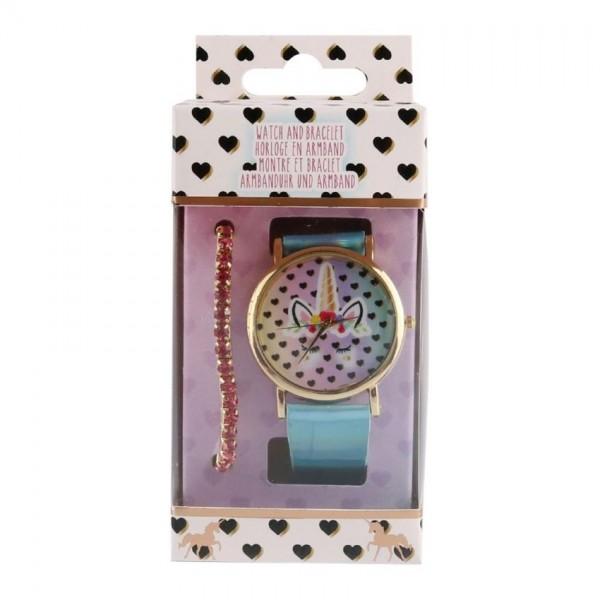 Unicorn horloge met roze armband analoog