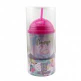 Flamingo drinkbeker met rietje 450ml