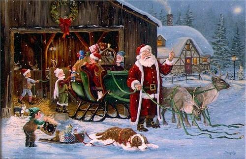 Nostalgische Keuken Playmobil : Santa Packing Sleigh