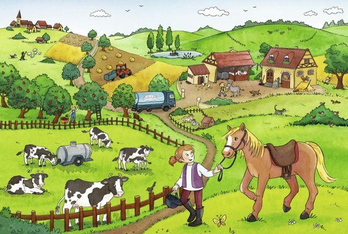 Ravensburger puzzel drukte op de boerderij 2x12