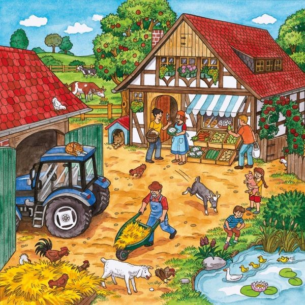 Gt ravensburger gt puzzels 3x49 stukjes gt puzzel boerderij 3 x 49