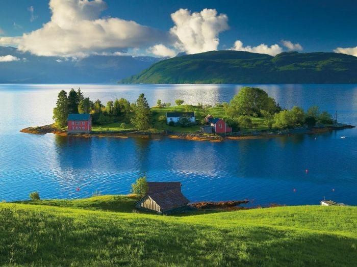 Puzzel Eiland in Hordaland, Noorwegen (1500)