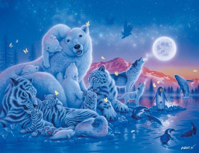 Gt puzzels 2000 stukjes gt puzzel pooldieren in het maanlicht 2000