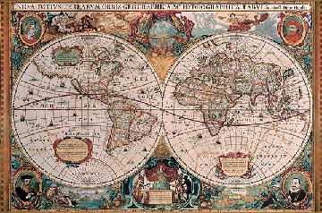 Puzzel antieke wereldkaart 5000 - Doos huis wereld ...