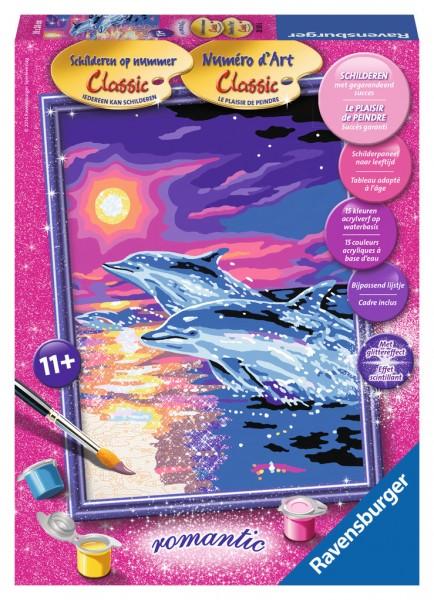 Ravensburger schilderen op nummer dolfijnen in de zonsondergang - Schilderen kind jongen ...
