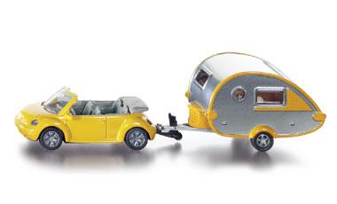 1629 Siku VW Beetle met caravan