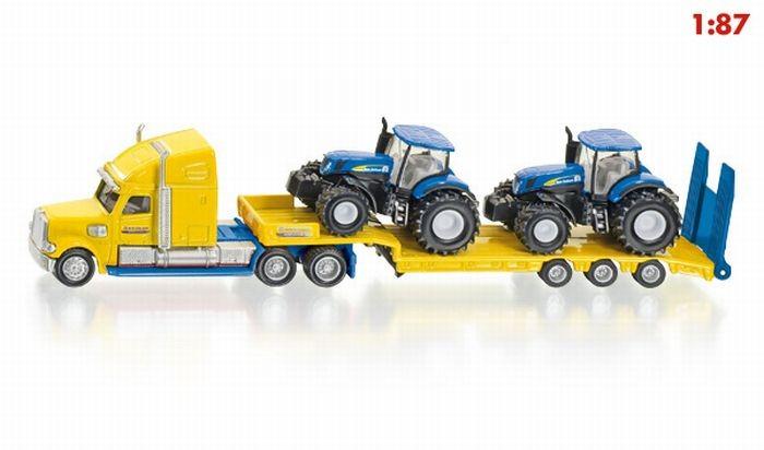 1805 Siku Vrachtauto met 2 New Holland tractoren