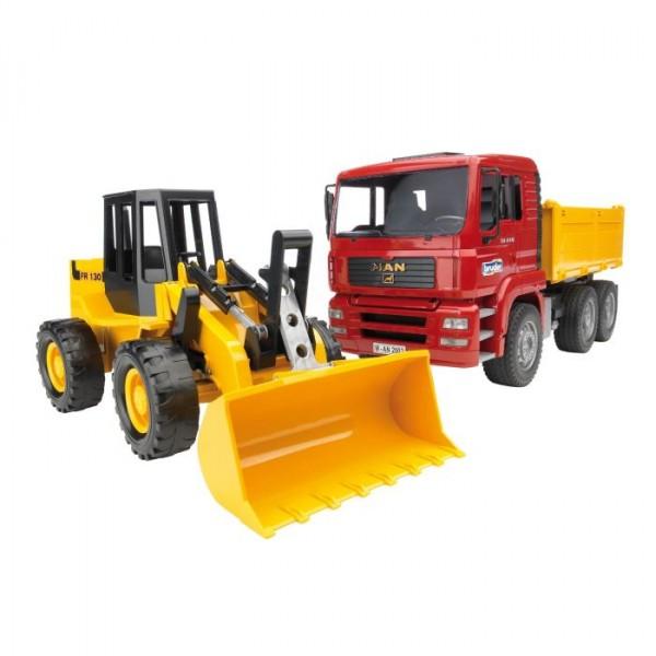 2752 Bruder Man TGA kiepauto met gele shovel FR130