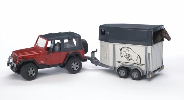 2921 Bruder Jeep met paardentrailer en paard