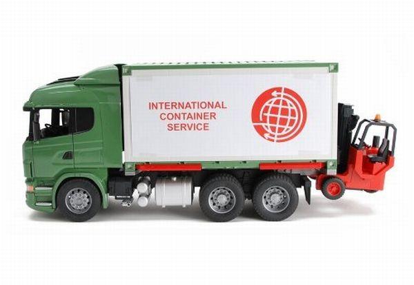 3580 Bruder Vrachtwagen Scania R met wisselbak en stapelaar