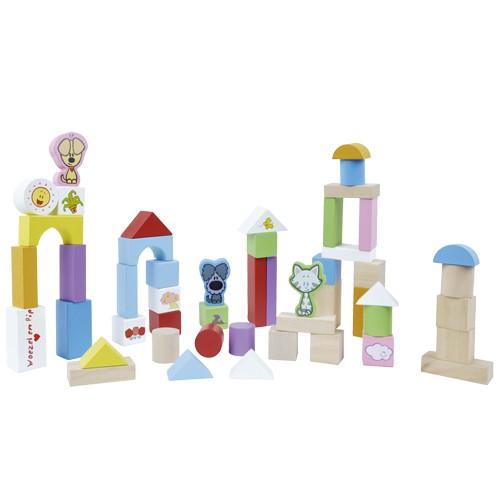 Speelgoedwinkel, Woezel en Pip Blokken 50 stuks Hout