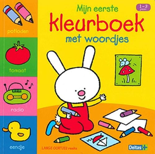Boek Lange Oortjes Mijn Eerste Kleurboek met Woordjes (1-3 jaar)