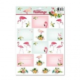 Stickers Label A4-Vel Flamingo