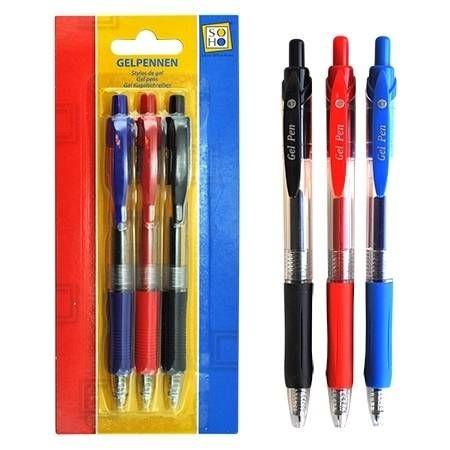Gelpennen Zwart/Rood/Blauw
