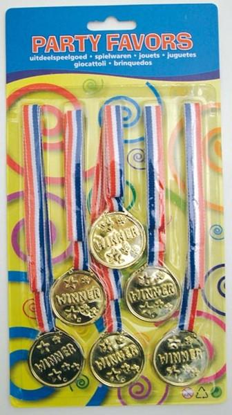 Medailles 6stuks op een kaart