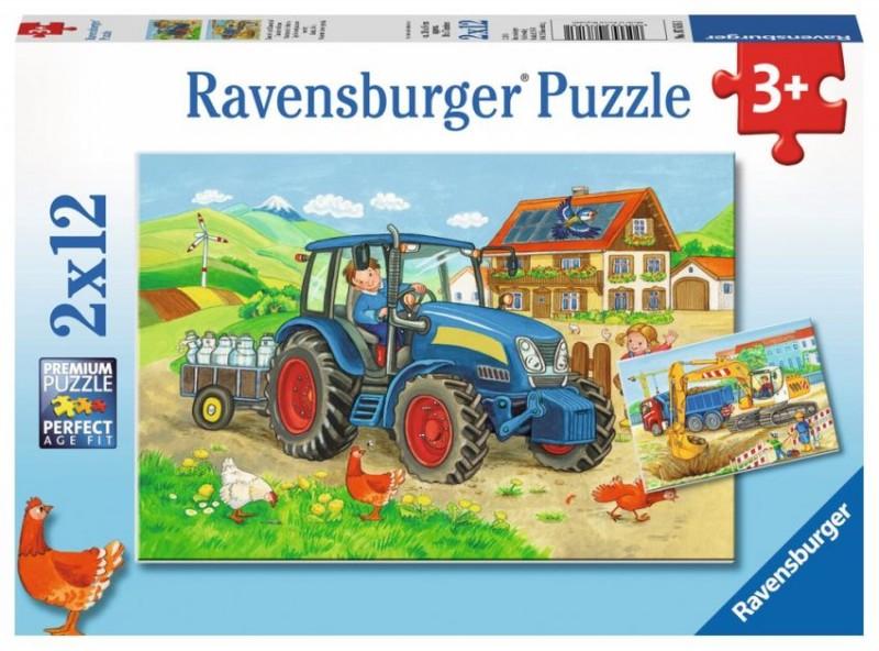Ravensburger Puzzel Op De Bouwplaats En Boerderij (2x12)