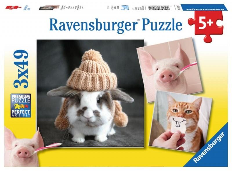 Ravensburger Puzzel Komische Dierenportretten (3x49)