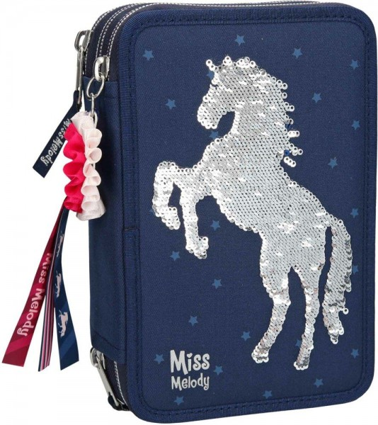 Miss Melody 3-Vaks Etui Gevuld Blauw