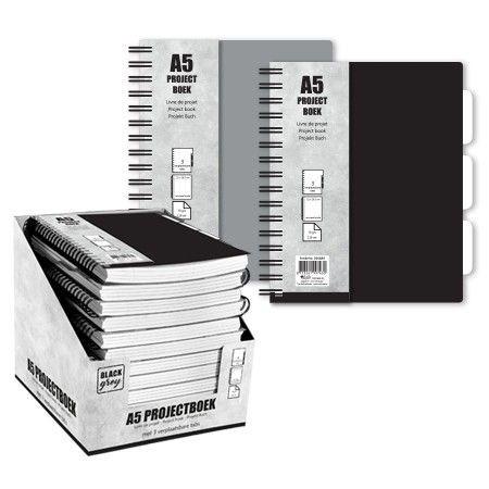 Projectboek A5 120 Vellen Zwart/Grijs