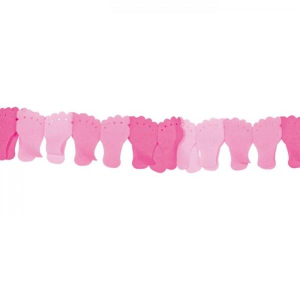 Papieren slinger roze voetjes